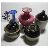 (3) Salt glazed two tone stoneware items (one is