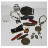 (5) Pocket knives, lighter, various coins, small