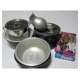 (3) Boxes of household including large stainless