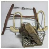 Ox Yoke, buck saw, (4) Vintage hand planes, barn