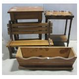 (2) Small wood stands, doll bench, & wood