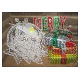 Large group of outdoor Christmas lighted items.