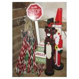 Outdoor lighted candy canes & (6) Wood Christmas
