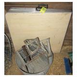 (2) Folding card tables, galvanized wash tub,