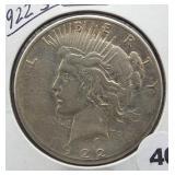 1922-S Peace Silver Dollar.