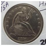 1871-S Seated Silver Half Dollar.