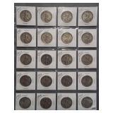 (20) Walking Liberty Silver Half Dollars. Dates:
