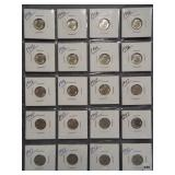 (20) Roosevelt Silver Dimes. Dates: 10-1946,