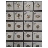 (20) Roosevelt Silver Dimes. Dates: 2-1950,