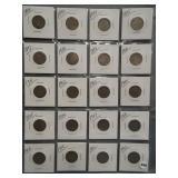 (20) V-Nickels. Dates: 1889, 1893, 1894, 1895,