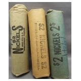 (3) Rolls of Jefferson Nickels. Dates: 1941-P,