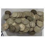 (100) 40% Silver War Time Jefferson Nickels.