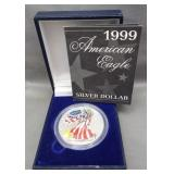 1999 Painted American Eagle 1oz Silver Dollar.