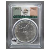 2015-Mo 1onza Mexico Silver .999. Graded PCGS MS