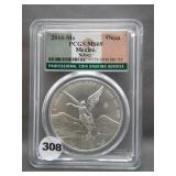 2016-Mo 1onza Mexico Silver .999. Graded PCGS MS