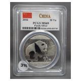 2016 China 10Yn Panda .999 Silver. Graded PCGS MS