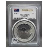 2016-P 1oz .999 Silver Australia Kangaroo. Graded