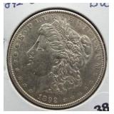 1892-O Morgan silver dollar. GEM BU.