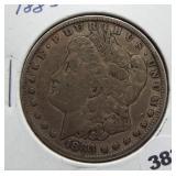 1883 Morgan silver dollar.