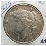 1923-D Peace silver dollar.