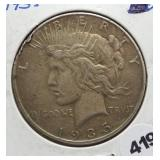 1935 Peace silver dollar.