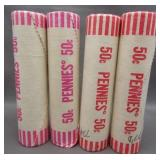 (4) Bank wrapped BU Lincoln cent rolls: 1975-D,
