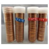 (4) BU Lincoln cent rolls: 1974-S, 1975, 1976-D,