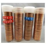 (4) BU Lincoln cent rolls: 1974-D, 1974-S,