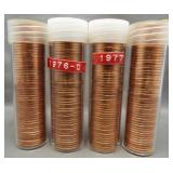 (4) BU Lincoln cent rolls: 1976-D, 1977, 1982,