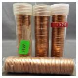 (4) BU Lincoln cent rolls: 1968-D, 1978, 1988,