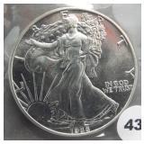 1988 American silver eagle.