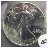 1990 American silver eagle.