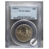 1954-S Franklin half dollar. PCGS MS64.