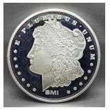 SMI 1 Troy ounce silver coin. Morgan design.