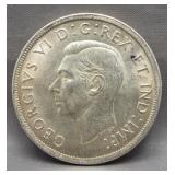 1939 Canadian silver dollar. Nice detail.