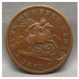 1852 Bank of Upper Canada one penny.