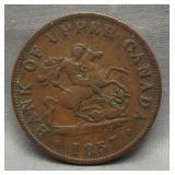 1857 Bank of Upper Canada half penny.