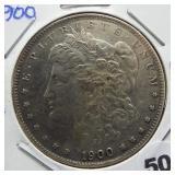 1900 Morgan silver dollar.