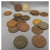 (20) Indian head pennies of various dates from