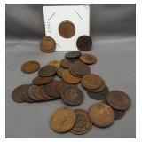 (30) Indian head pennies of various dates.