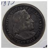 1893 Columbian silver half dollar.