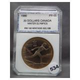 1986 $20 Canada Winter Olympics coin. PCI PR65.