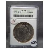 1891-S Morgan silver dollar. ANACS AU58.