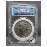 1889 Morgan silver dollar. GEC MS67.