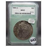 1880-O Morgan silver dollar. NTC MS63.