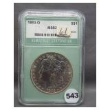 1883-O Morgan silver dollar. NTC MS63.
