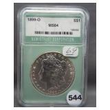 1899-O Morgan silver dollar. NTC MS64.