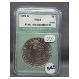 1901-O Morgan silver dollar. NTC MS65.