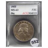 1955 Franklin silver half dollar. ACG MS63 FBL.