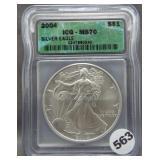 2004 Silver Eagle. ICG MS70.